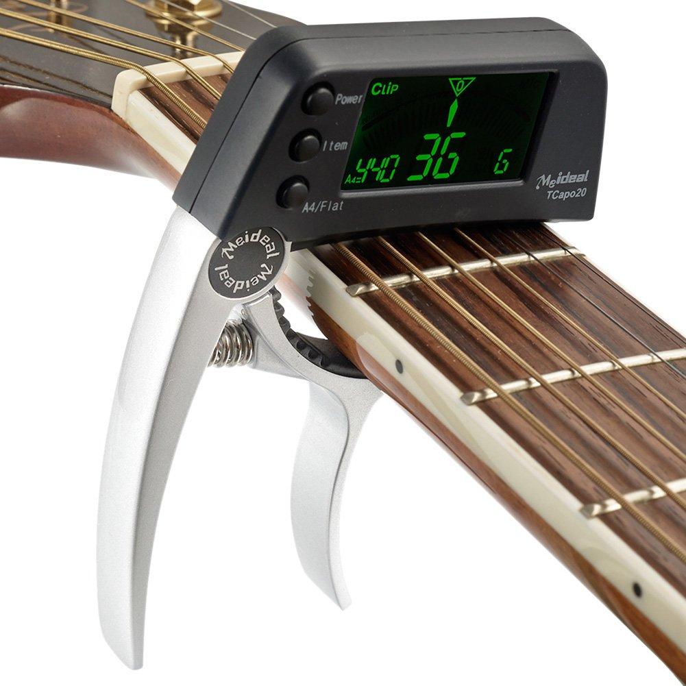 Accordeur de guitare Capodastre, 2en 1Guitare électrique Capo Tuner avec écran LCD, professionnel Capo Tuner pour guitare acoustique ou guitare folk, banjo, ukulélé, guitare classique (batterie non inclus) RAINBEAN