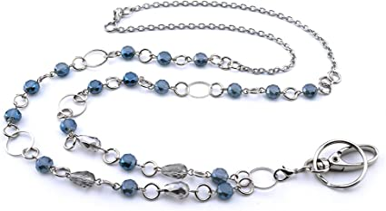 portachiavi badge Cordino con perline e anelli LUXIANDA catena in acciaio INOX per collane