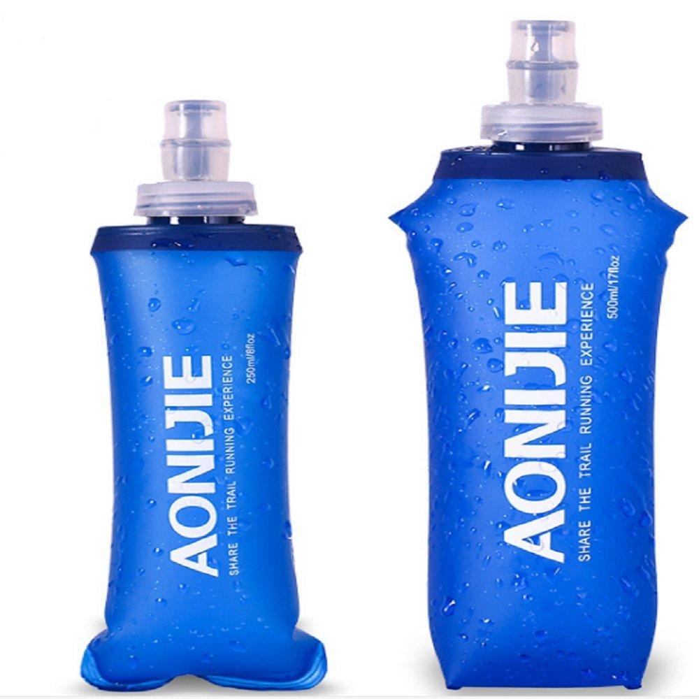 Cyfie Bolsa deHidratación plegable libre BPA botella de agua del bolso suave para el Deporte Correr Senderismo (250ML/500ML) (500ML)