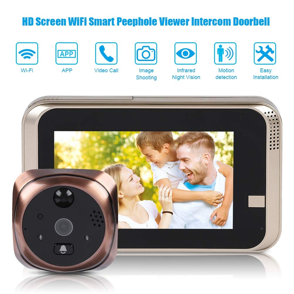 4.3'' LED Digital Peephole Door Viewer 720P Smart Vision Door Camera Monitor Indoor Viewer IR Night Vision Motion Detection Noise Cancellation 166 Degrees Wide Angle WiFi - iOS, Android, Mac by Sonew (Image #2)