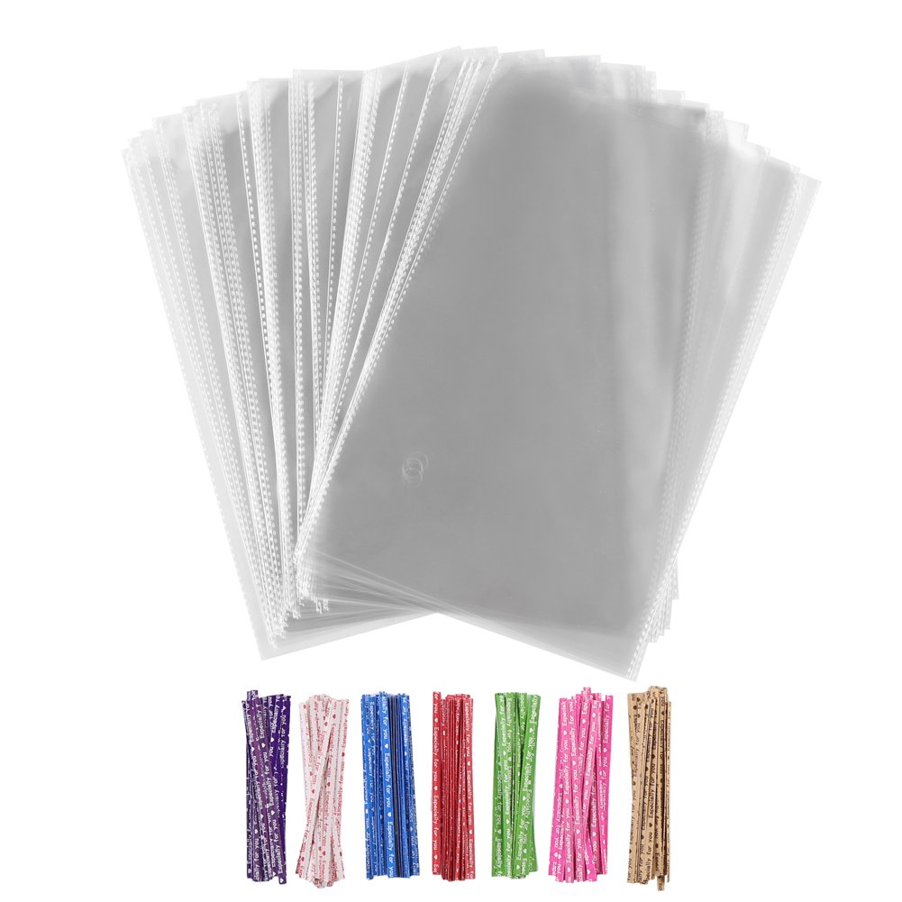 100 Pieces 7 by 11 Inches Clear Treat Bags Clear Cellophane Treat Bags with 140 Pieces Twist Ties 7 Colors for Bakery,Cookie Gift Candy Buffet Cello Bag Supply CCINEE