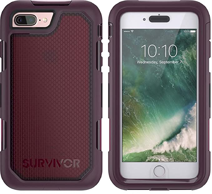 new product ded96 9cf9a Griffin Survivor Extreme for iPhone 7 Plus, Wine/Clear - Maximum Drop  Protection and rain-Proof case for iPhone 7 Plus