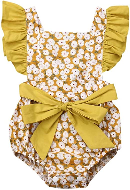 Baby Jumpsuit Newborn Toddler Infant Girl Bowknot Bodysuit Ruffle Summer Outfits