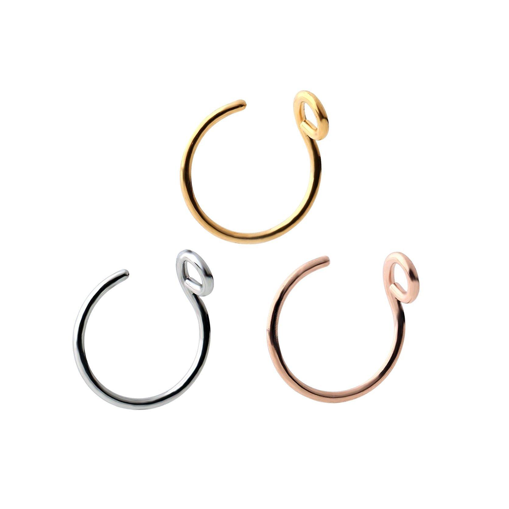 Steel Faux Clip On Earrings Nose Hoop Ring Body Jewelry Piercing Unisex 20 Gauge 8mm (3 pcs)