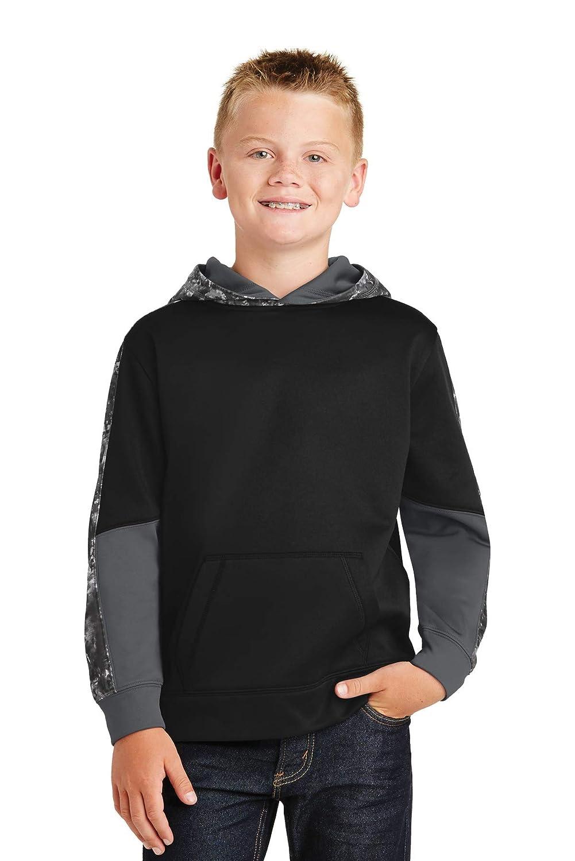 ST Youth Sport-Wick Mineral Freeze Fleece Colorblock Hooded M Black//Black