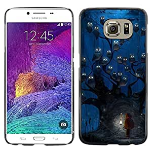 Exotic-Star ( Owl Blue Night Watercolor ) Fundas Cover Cubre Hard Case Cover para Samsung Galaxy S6 / SM-G920 / SM-G920A / SM-G920T / SM-G920F / SM-G920I