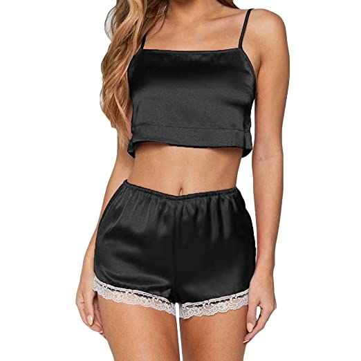 UMFun Fashion Women Lace Splic Stain Lingerie Set Pajamas Camisole Shorts Sleepwear