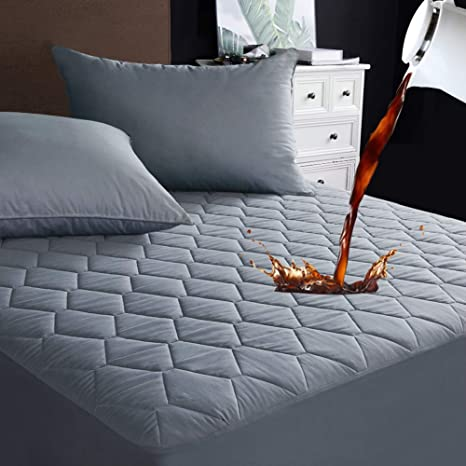 """Quilted Fitted Mattress Pad Cover Stretches Up To 16/"""" Deep Bedding"""