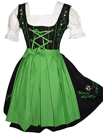 c26237aa1 Amazon.com: Edelweiss Creek 3-Piece German Oktoberfest Dirndl Dress, Black  and Green: Clothing