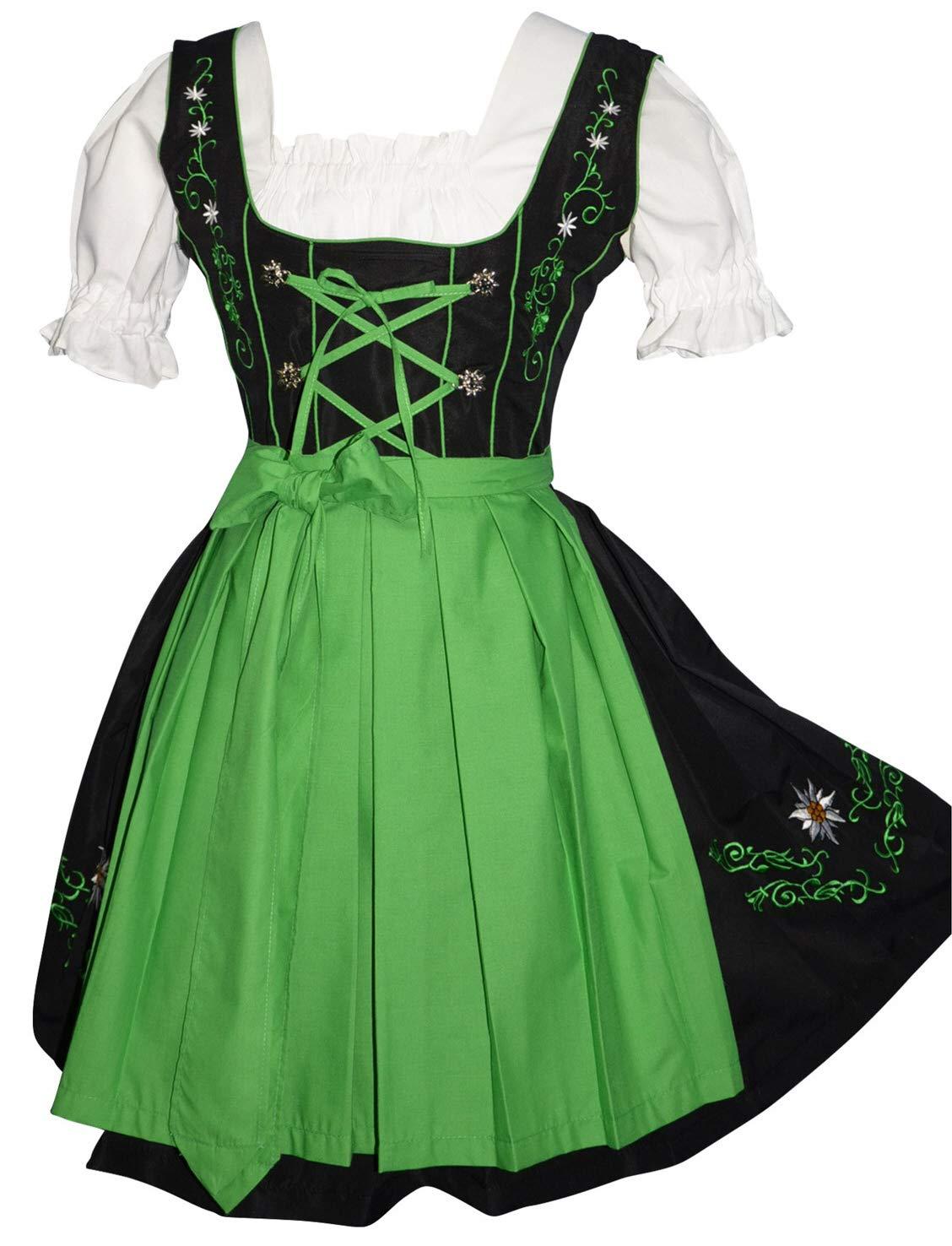 Edelweiss Creek 3-Piece Short German Party Oktoberfest Dirndl Dress Black & Green (14)