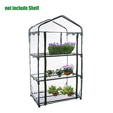 Gorgebuy PVC cálido Jardín Tier Mini Casa Planta de invernadero de la cubierta(estructura metálica