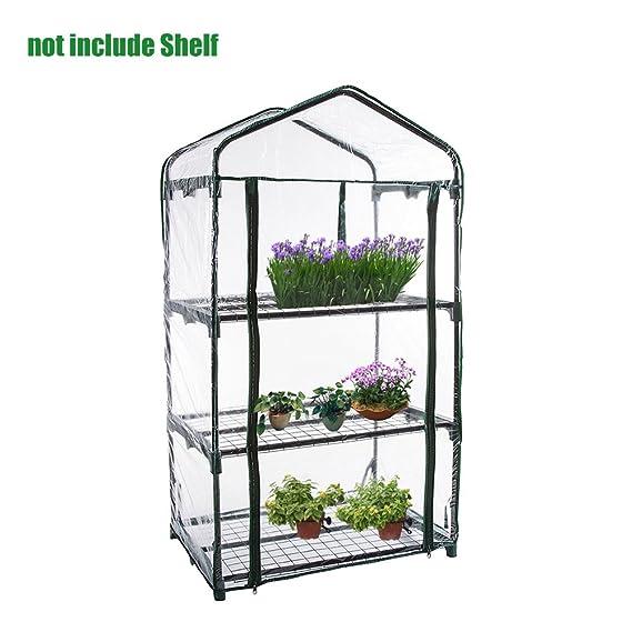 Gorgebuy PVC cálido Jardín Tier Mini Casa Planta de invernadero de la cubierta(estructura metálica no incluida, solo plástico exterior): Amazon.es: Hogar