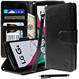LG G4 Case, Style4U Premium PU Leather Stand Wallet Case with ID Credit Card / Cash Slots for LG G4 + 1 Stylus [Black]