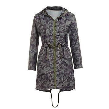 Abrigos con capucha Camuflaje para Mujer, LILICAT Cremallera de manga larga con cremallera y cordón