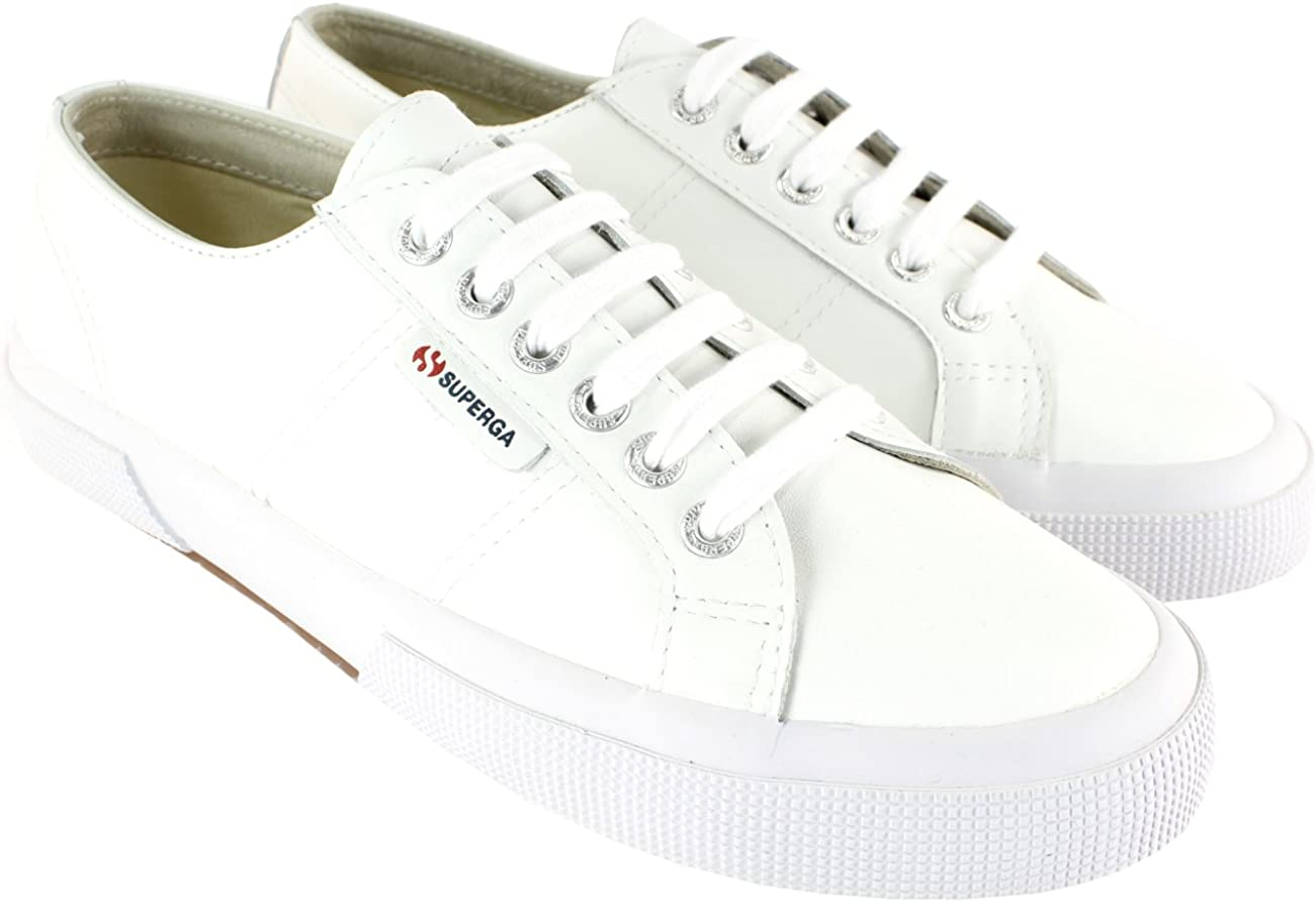 Superga Womens Fglu White Leather Upper