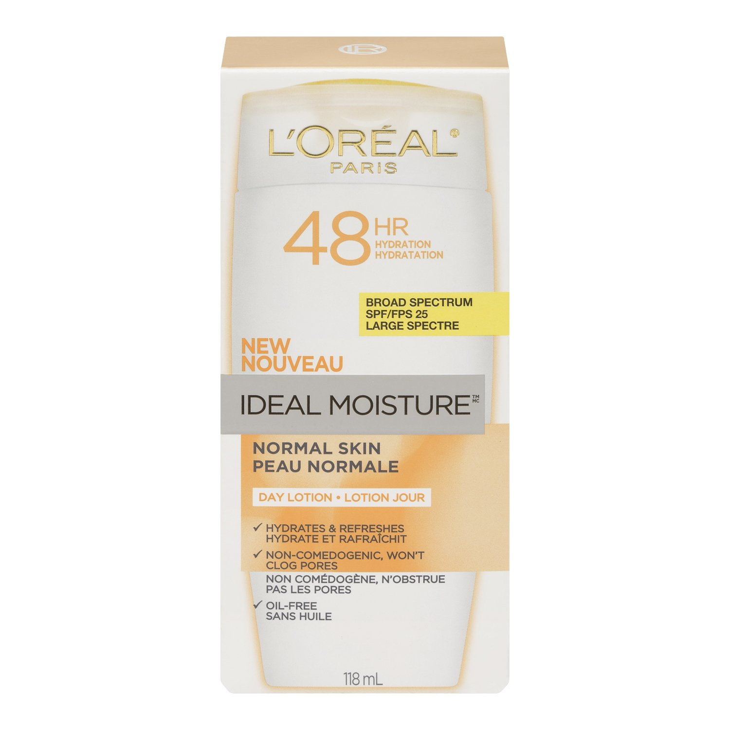 L'Oreal Paris Ideal Moisture Day Lotion SPF 25, Normal Skin, 4.0 Fluid Ounce