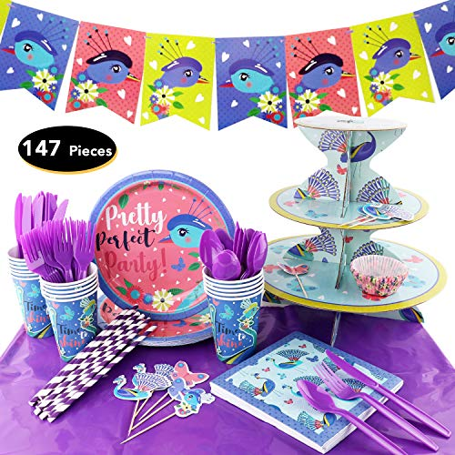 147Pieces Peacock Birthday Party Set Supplies Serves 16 for Kids Birthday Theme Party Baby Shower School Party Daily Dinner