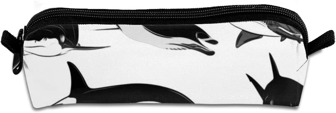 Pencil Bag Ocean Shark Sea Orca Killer Whale Pencil Case Pen Zipper Bag Pouch Holder Makeup Brush Bag for School Work Office
