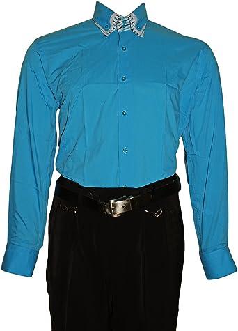 Camisa para Hombre – 3 Slim Fit Entallado Cuello 2 Botón Camisa Manga Larga Estribo Libre Negro Blanco Lila Rosa Rojo Azul: Amazon.es: Ropa y accesorios