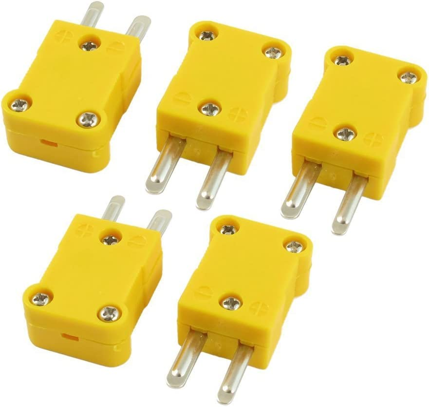 Sourcingmap a13041900ux0031 5 Pcs Yellow Plastic Case SMPW-K-M K Type Thermocouple Wire Connector