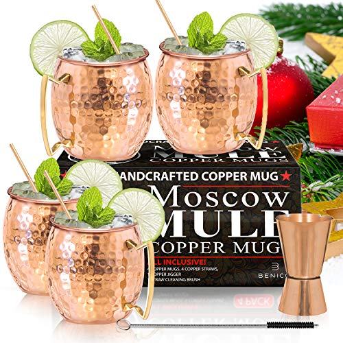 Moscow Mule Copper Mugs - Set of 4-100% HANDCRAFTED - Food Safe Pure Solid Copper Mugs - 16 oz Gift Set with BONUS: Highest Quality Cocktail Copper Straws and Jigger! (Best Way To Get Copper)