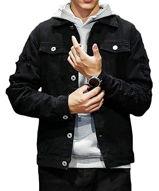 b0df389699d OTW Men s Casual Plus Size Ripped Distressed Embroidery Button Up Denim  Jacket Coat Outerwear Black XS