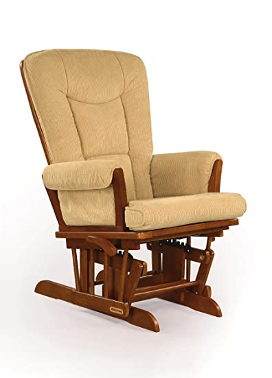 Charming Shermag Glider Rocker, Chablis With Camel Micro Fabric