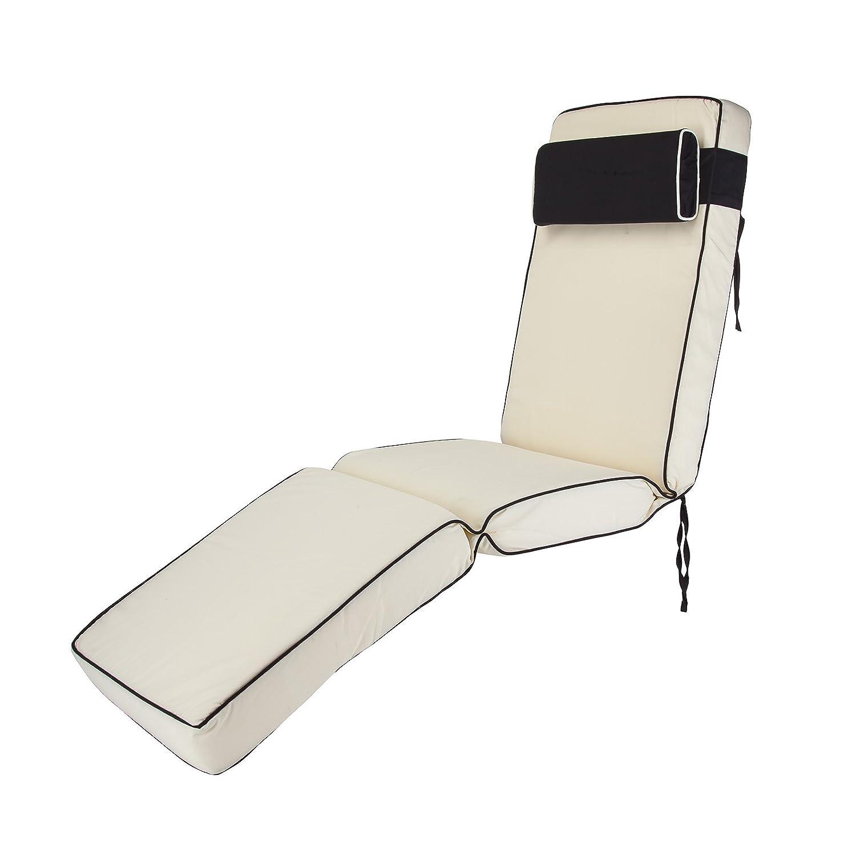 Luxury Garden Sun Lounger Multi-Position Cushion – Choice of Colours (Cream) Alfresia