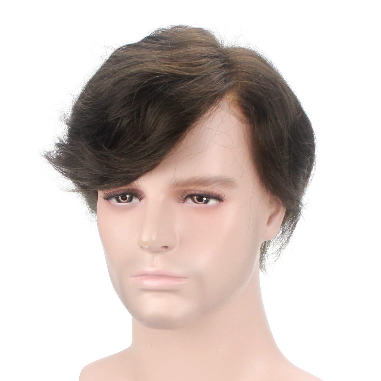 Lordhair 100% Cabello Humano Cabello Indio Francés Encaje Marrón Más Oscuro 2# Cabello Reemplazo Masculino Toupees Hombre: Amazon.es: Belleza