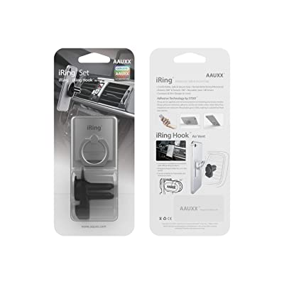 AAUXX iRing with AirVent Set Cell Phone Grip and Mount Holder. Car Air Vent Phone Mount Ring Accessory for iPhones, Samsung, Other Android Smartphones and Tablets.