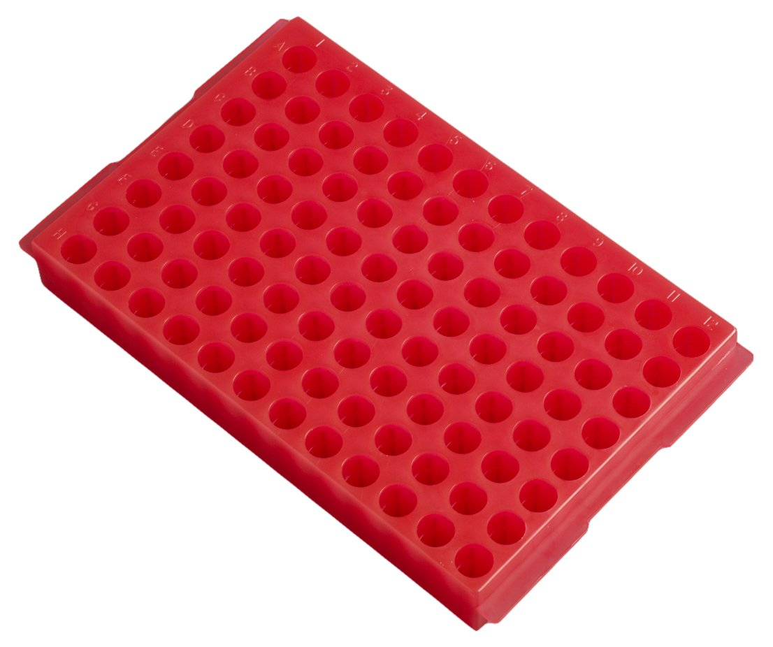 Camlab Plastics RTP/7110-96R 96 Well Polypropylene Reversible Rack, Red 1146453