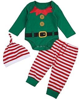 56800c0c2 Baby Boy Girl Christmas Romper Leggings Hat Set Elf Costume Xmas ...