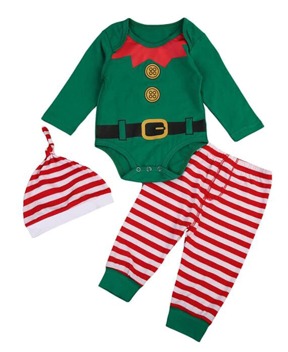SUPEYA Toddler Baby Boys Girls Xmas Outfits Cartoon Romper+Stripe Pants+Hat 3Pcs Set
