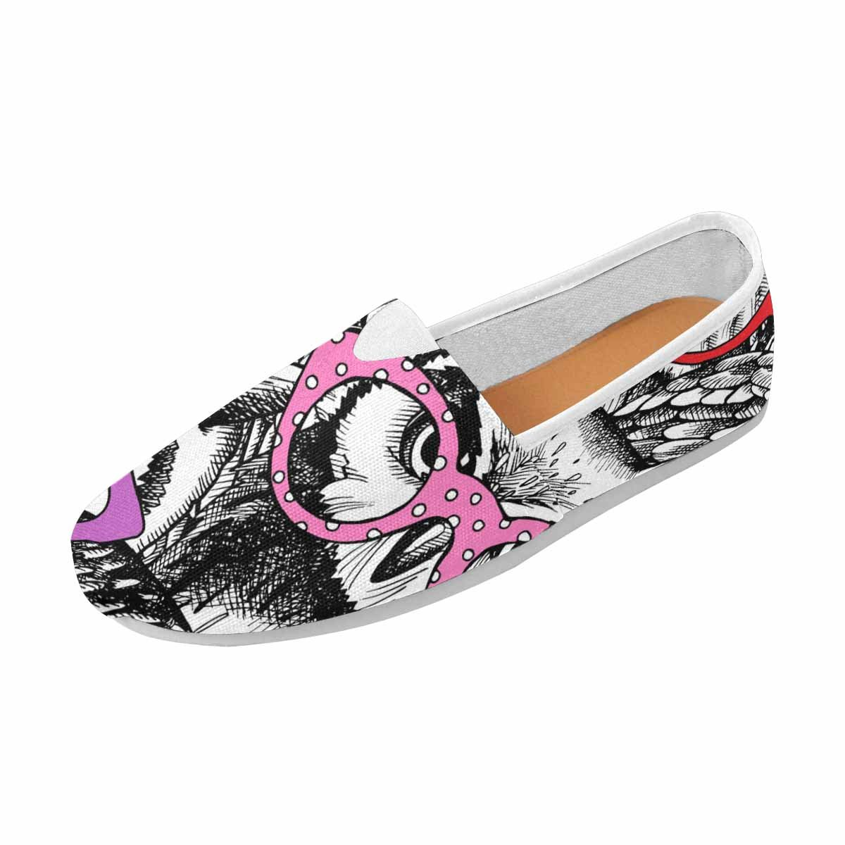 InterestPrint Women's Loafers Classic Casual Canvas Slip On Shoes Sneakers Flats 6 B(M) US Owls in Glasses