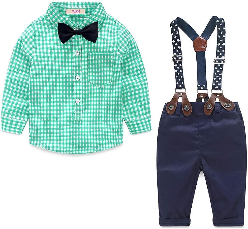 Nwada Ropa Bebe Ni/ño Conjunto Primavera Traje Verano Esmoquin Pascua Camisa y Pajarita y Pantalone 6 Meses a 5 A/ños