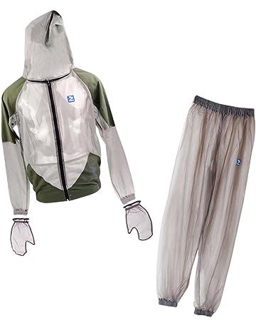 35f5534bdd6a0 MagiDeal Combinaison Anti Moustiques Insecte Veste à Capuche Pantalon  Vêtements Gants Protection pour Pêche Randonnée Camping