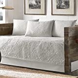 White Cotton, 5-piece Daybed Cover Set with Bedskirt and Embroidered Pattern Included Cross Scented Candle Tart