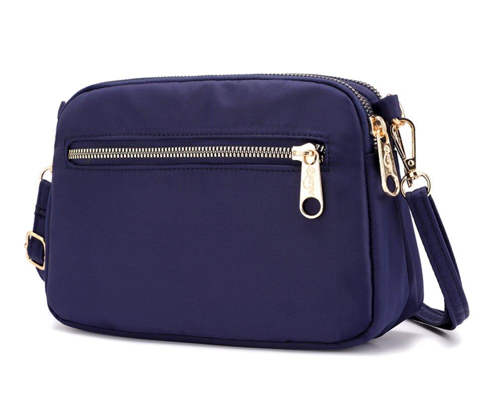 Collsants Small Crossbody Purse Mini Nylon Travel Shoulder Bag Multi Zipper Pockets (Blue)