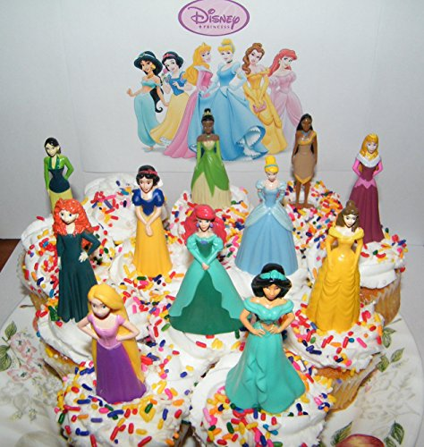 Disney Princess Deluxe Cake Toppers Cupcake Decorations Set of 13 with 11 Topper Figures and 2 Princess Tattoos featuring Belle, Ariel, Cinderella and (Disney Princess Cake Decoration)