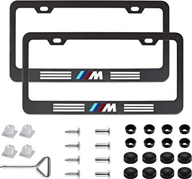 Wonderchef 2Pack M Logo Stainless Steel License Frame with for BMW,with Screw Caps Cover Set-Black BMW-M