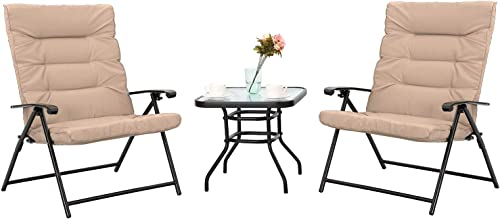 Sophia William Padded Folding Bistro Set 3 PCS Adjustable Patio Reclining Lounge Chairs Outdoor Furniture