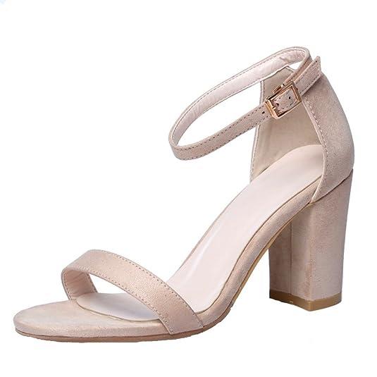 83c329b9a37484 UH Femmes Sandales Bride Cheville Bout Ouverts à Talons Haut Bloc Suede  Elegantes sans Plateforme: Amazon.fr: Chaussures et Sacs