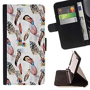 King Art - Premium-PU-Leder-Prima caja de la PU billetera de cuero con ranuras para tarjetas, efectivo Compartimiento desmontable y correa para la mu?eca FOR Samsung Galaxy S5 Mini SG870a, SM-G800- Peacock Feather