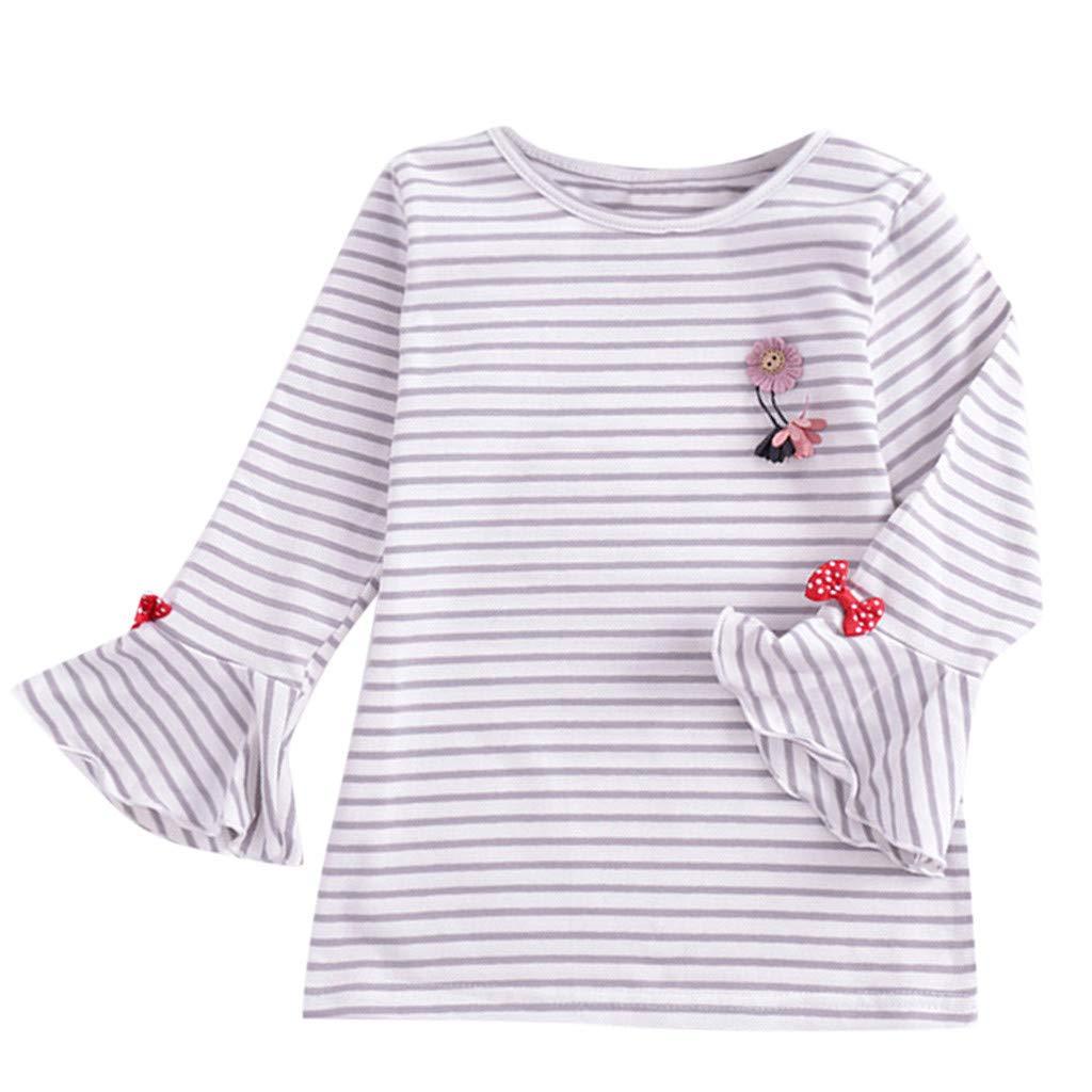 LEXUPE Bekleidung Todder scherzt Baby M/ädchen gestreifte Karikatur /übersteigt R/üschen niedrige Hemd Blusen Kleidung