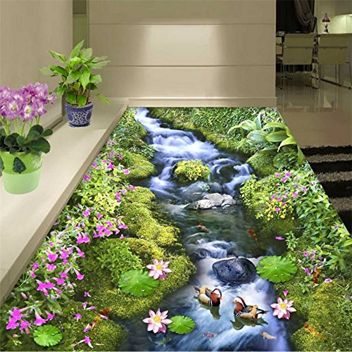 LWCX Custom 3D Flooring Mural Flower Sea World Flowers Floor Floor Waterproof Decorative Floor Murals 3D Wallpaper 200X160CM