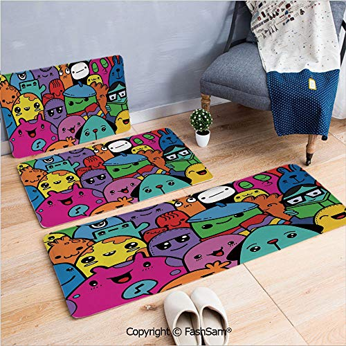 3 Piece Flannel Bath Carpet Non Slip Hand Drawn Colorful Doodle of Funny Cute Crazy Monster Buddies Group Drawing Style Decorative Front Door Mats Rugs for Home(W15.7xL23.6 by W19.6xL31.5 by W35.4xL62