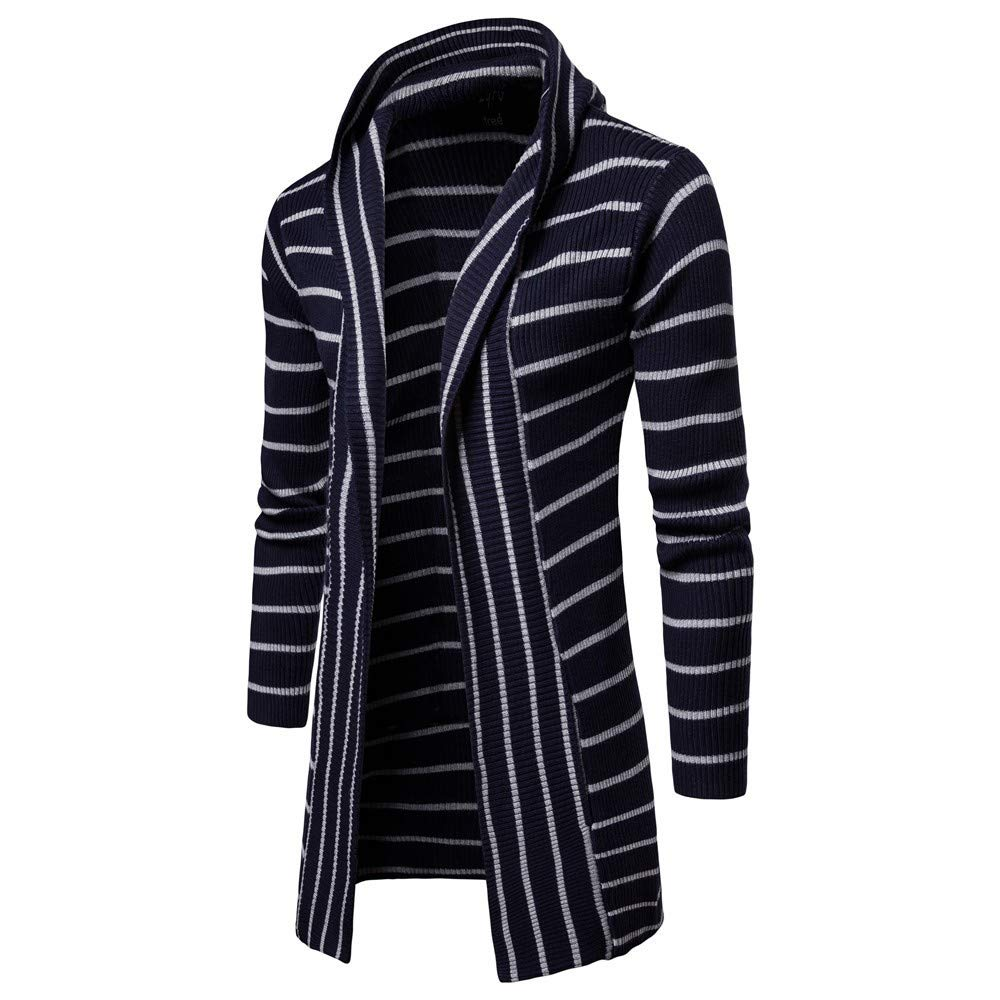 SPORTTIN Men's Casual Long Cardigan Sweater Stripe Print Hooded Shawl Collar Knit Coat(Navy,L