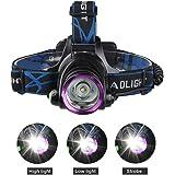 ヘッドライト 2000LM 高輝度 防水 ヘッドランプ 充電式 登山ライト 角度調整 懐中電灯の補助LEDライト キャンプ、サイクリング、ハイキング、釣りなどに対応 、充電電池、、ACアダプター&充電線付き