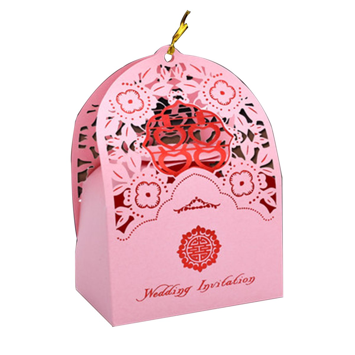 Amazon.com: Pink Gift Box With Double Happiness Design Wedding Favor ...
