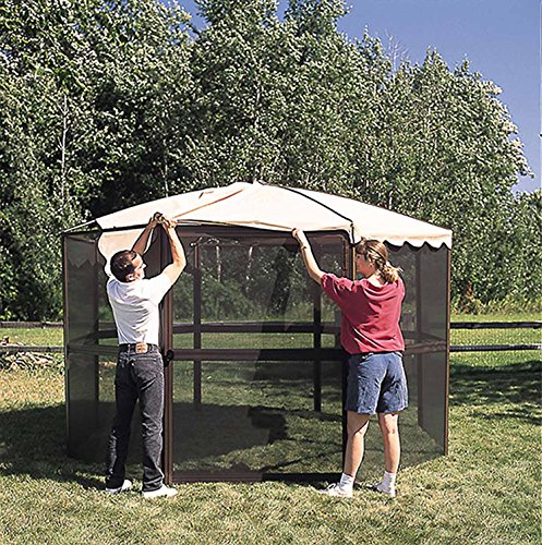 Casita 12-Panel Round Screenhouse 23165, Brown with Almond Roof